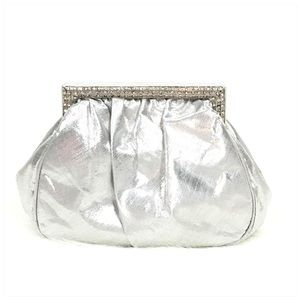 Vintage Silver Kiss Lock Clutch with Rhinestones